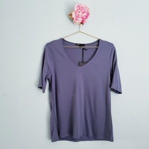 Gibson Clean Ponte V-neck Tee in Slate
